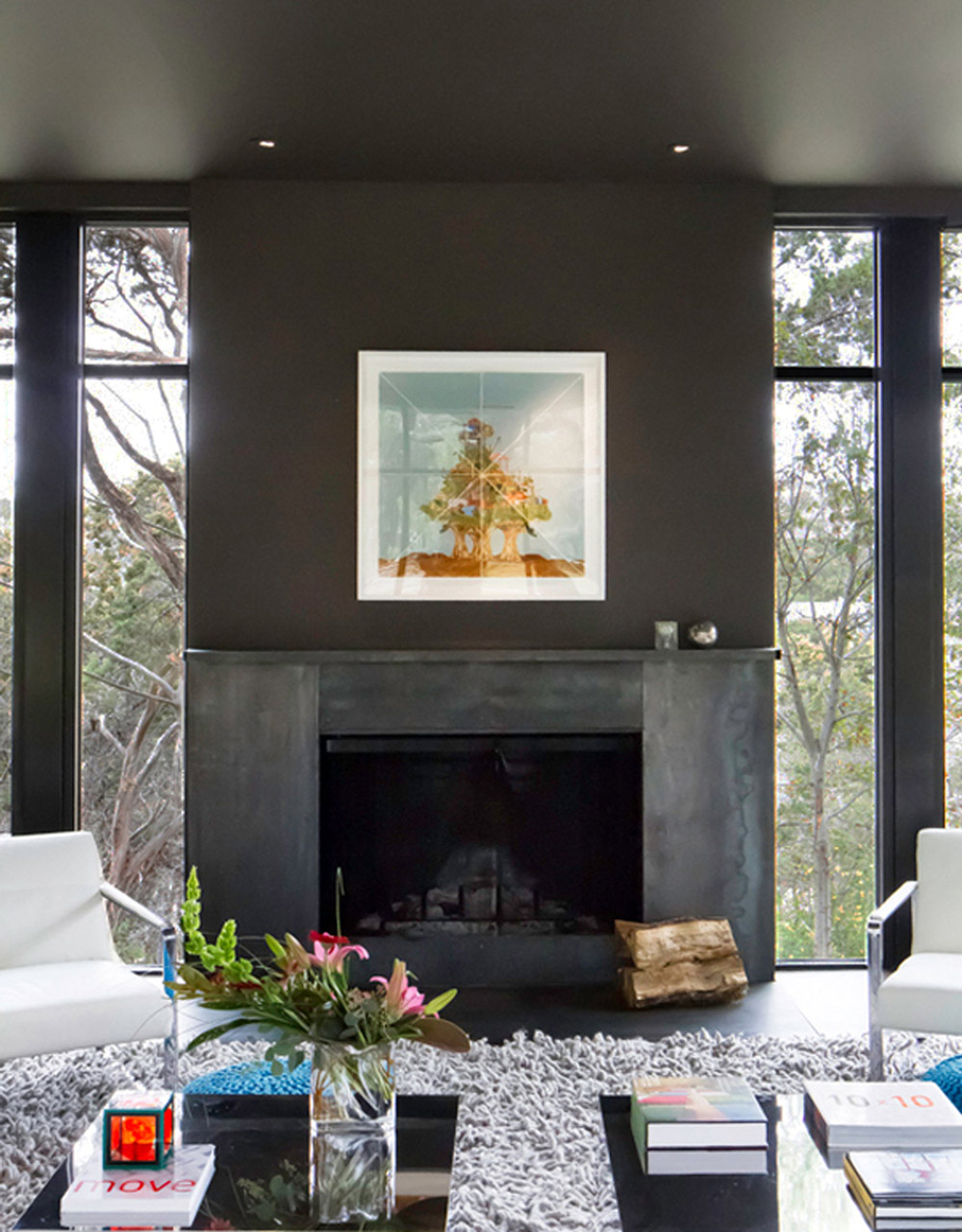 Modern Dark Fireplace, Contemporary Renovation in West Lake Hills, Texas