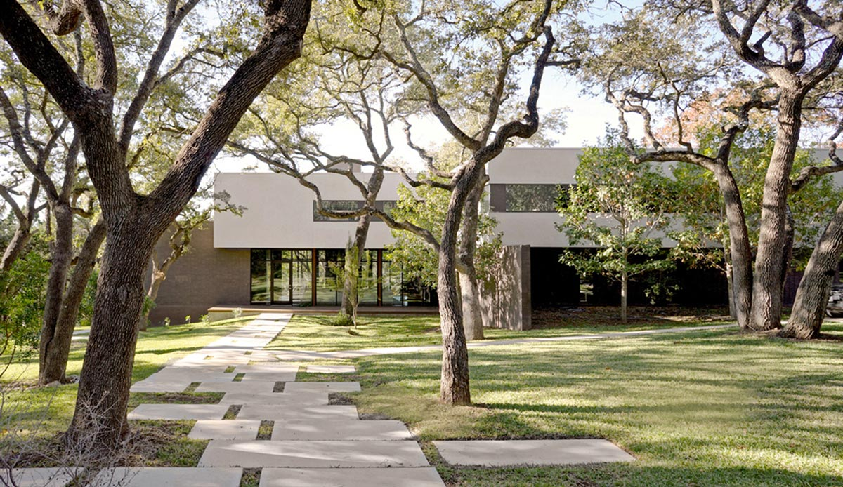 Oak Trees, Garden, Contemporary Renovation in West Lake Hills, Texas
