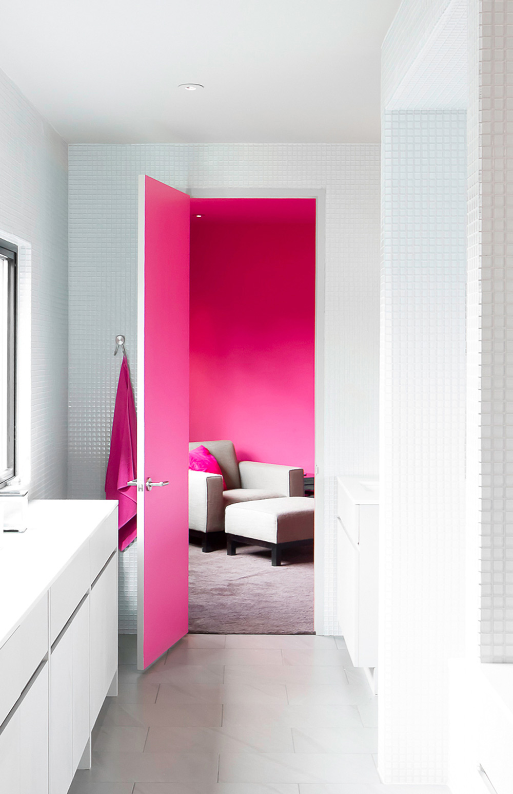 Pink Room, Door, Contemporary Renovation in West Lake Hills, Texas