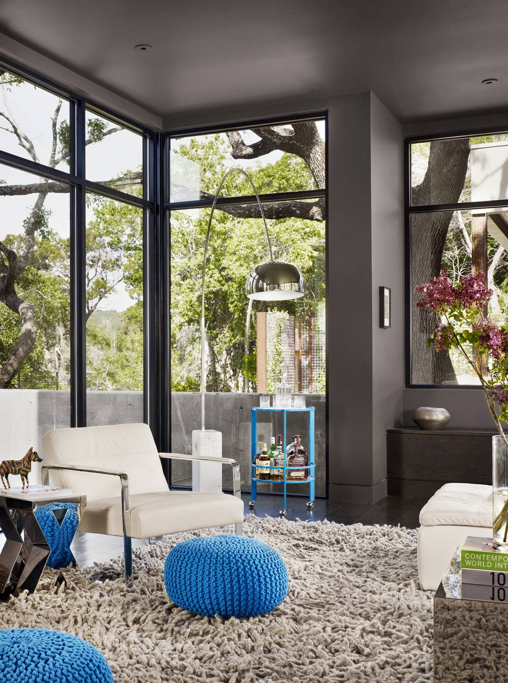 Rug, Chair, Lighting, Living Space, Contemporary Renovation in West Lake Hills, Texas