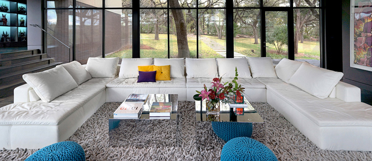 Coffee Table, Sofa, Rug, Contemporary Renovation in West Lake Hills, Texas