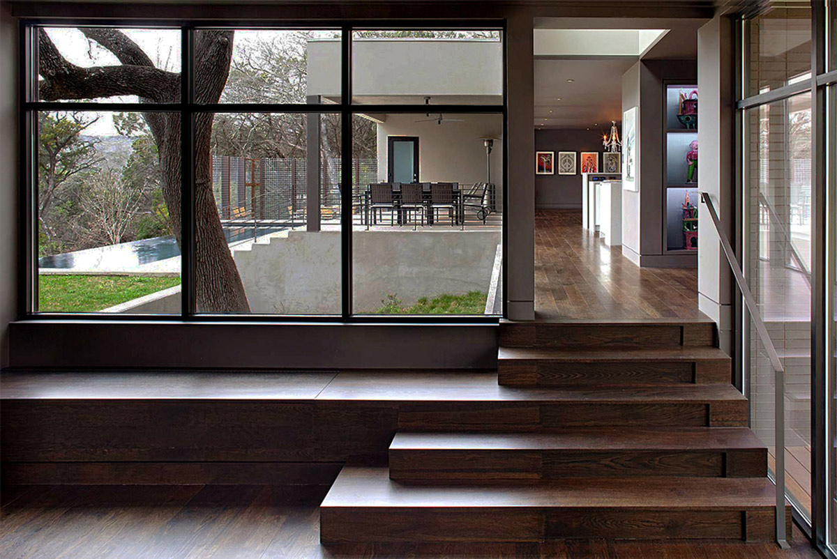 Wooden Steps, Contemporary Renovation in West Lake Hills, Texas
