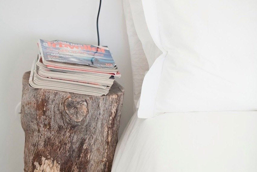 Log Side Table, Peaceful Retreat in Comporta, Portugal