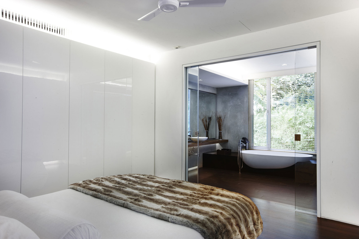 Bedroom, Glass Doors, Bathroom, Shop House Renovation in Singapore