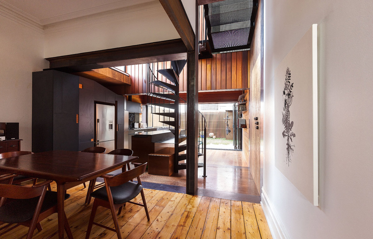 Dining Table, Wood Flooring, Two-Home Extension Within a Single Building in Richmond, Australia