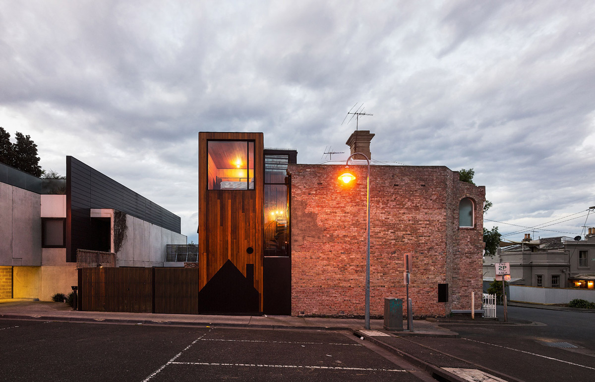Dusk, Lighting, Two-Home Extension Within a Single Building in Richmond, Australia