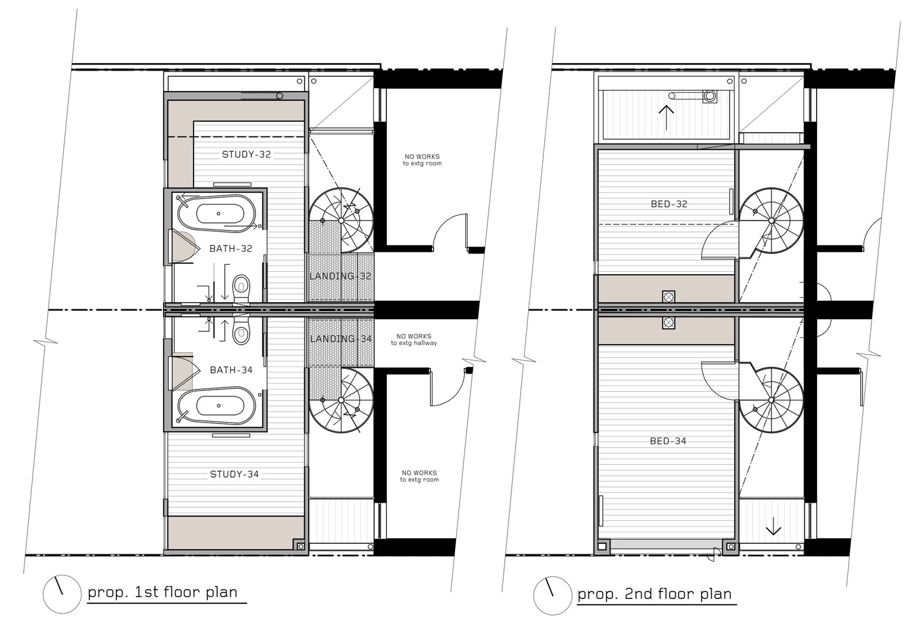 First & Second Floor Plan, Two-Home Extension Within a Single Building in Richmond, Australia