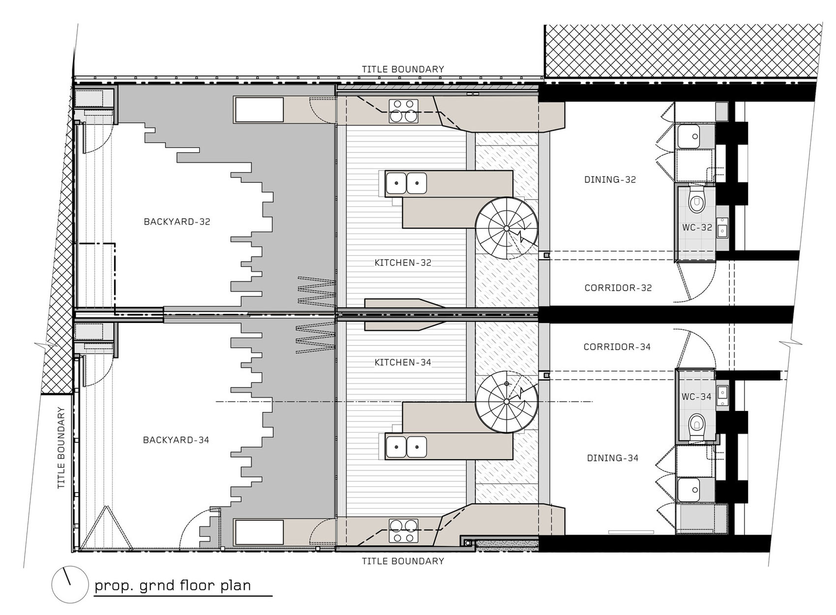 Ground Floor Plan, Two-Home Extension Within a Single Building in Richmond, Australia