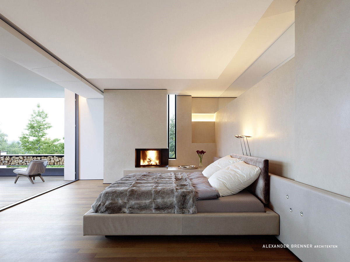 Bedroom, Fireplace, Balcony, Elegant Villa in Stuttgart, Germany
