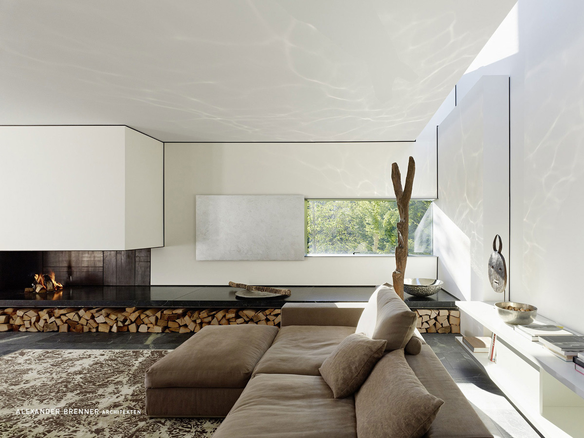 Contemporary Fireplace, Wood Store, Elegant Villa in Stuttgart, Germany