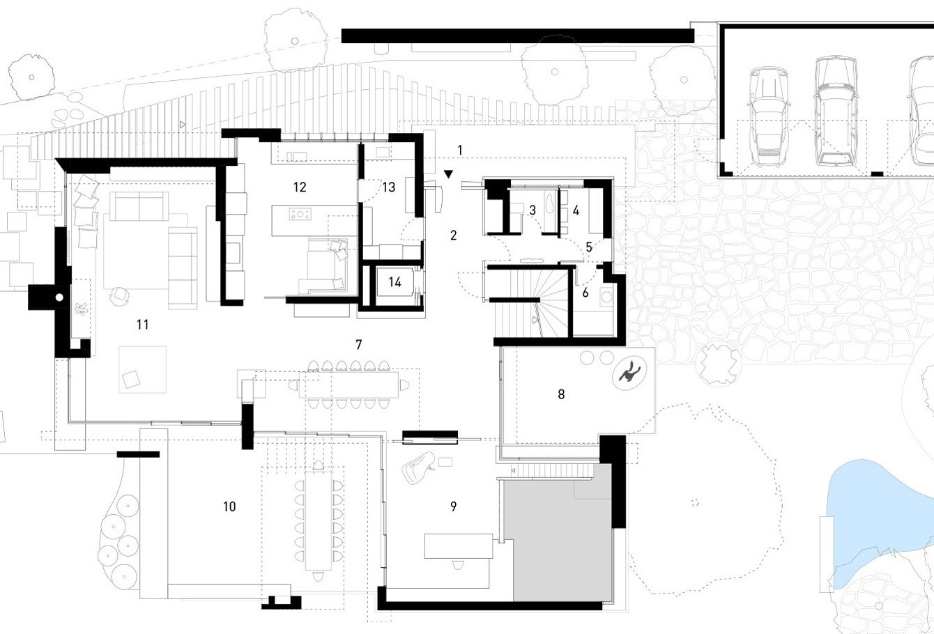 First Floor Plan, Elegant Villa in Stuttgart, Germany