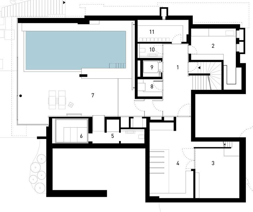 Ground Floor Plan, Elegant Villa in Stuttgart, Germany