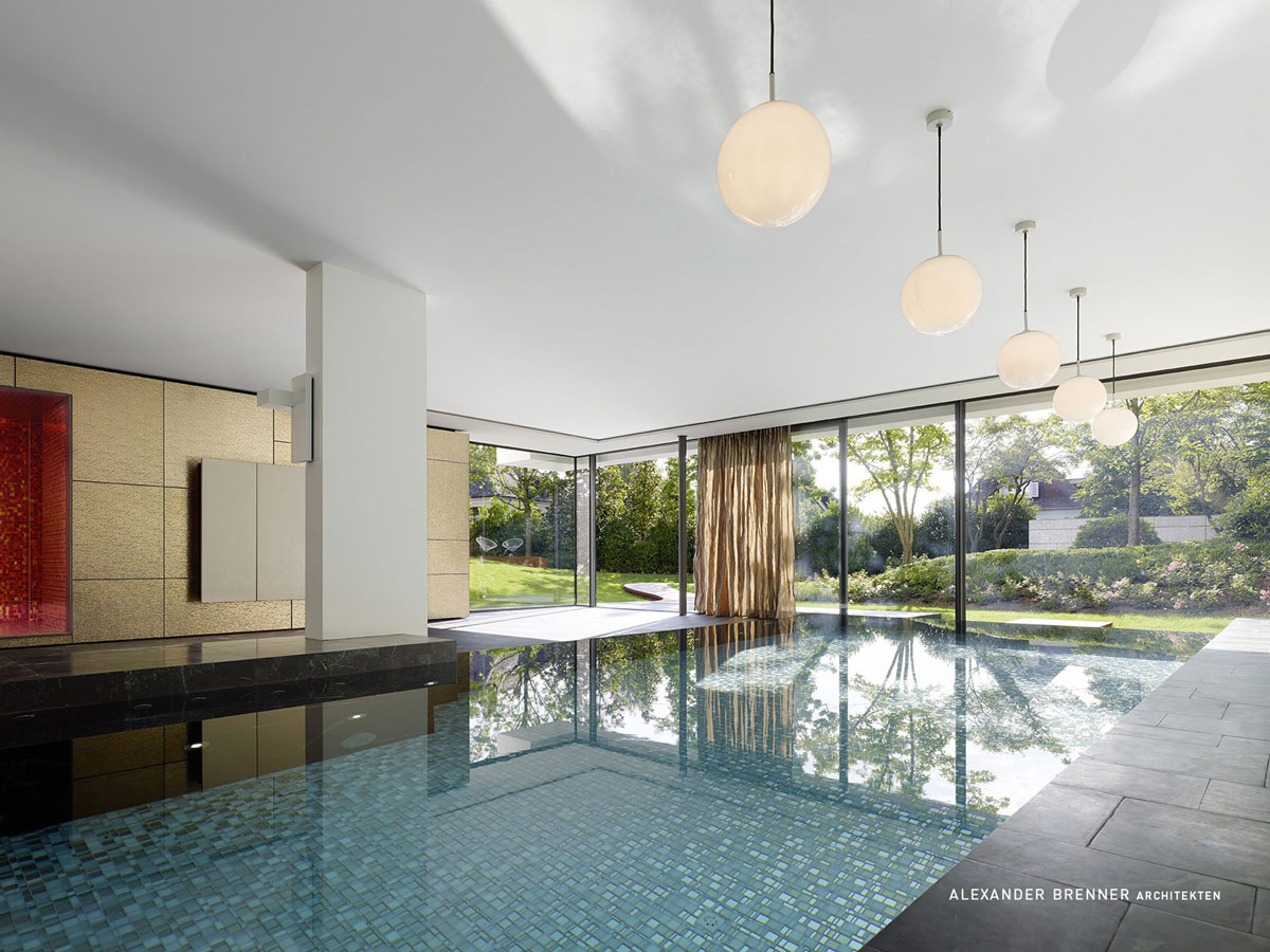 Indoor Swimming Pool, Glass Walls, Lighting, Elegant Villa in Stuttgart, Germany