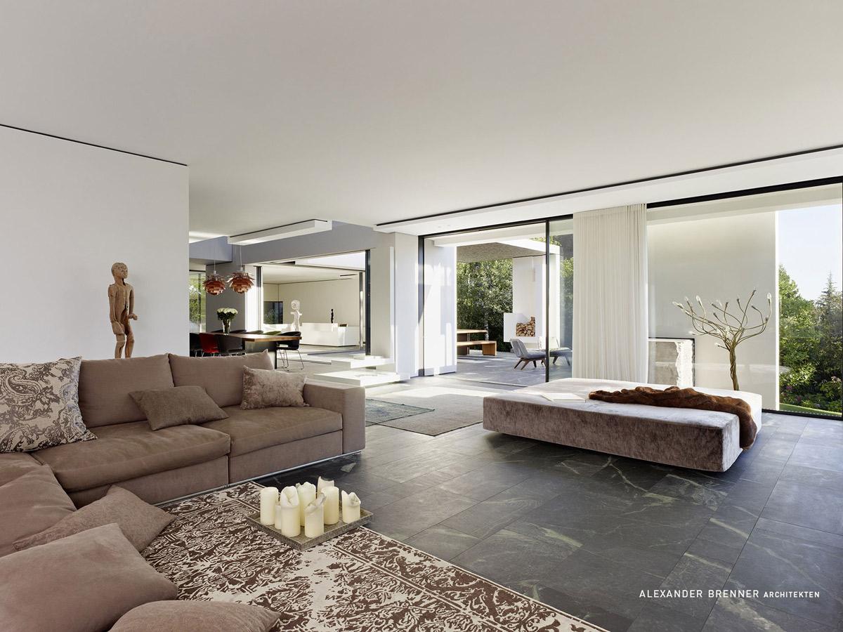 Sofa, Marble Tiles, Elegant Villa in Stuttgart, Germany