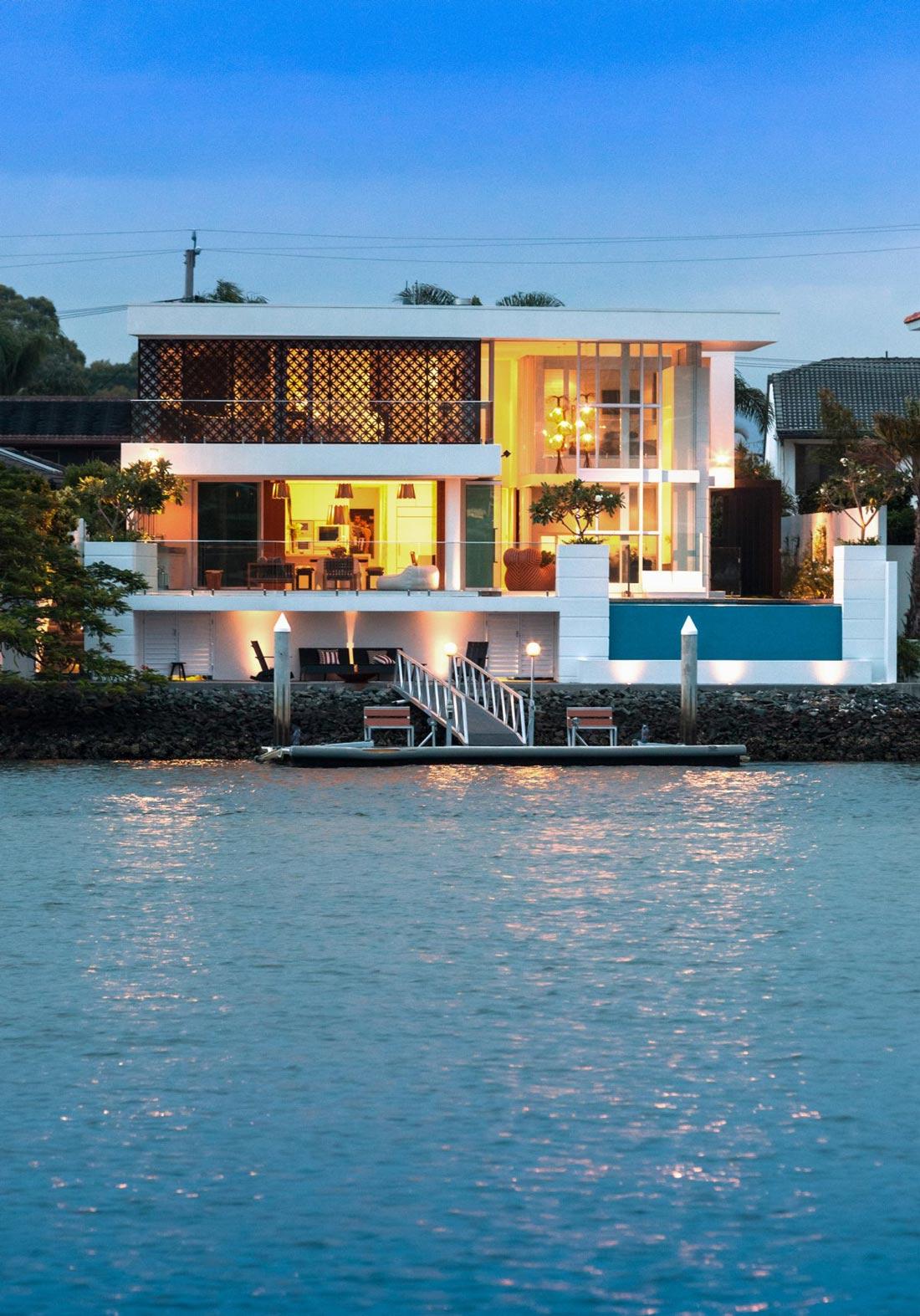 Dock, Lighting, Stunning Waterfront Home in Queensland, Australia
