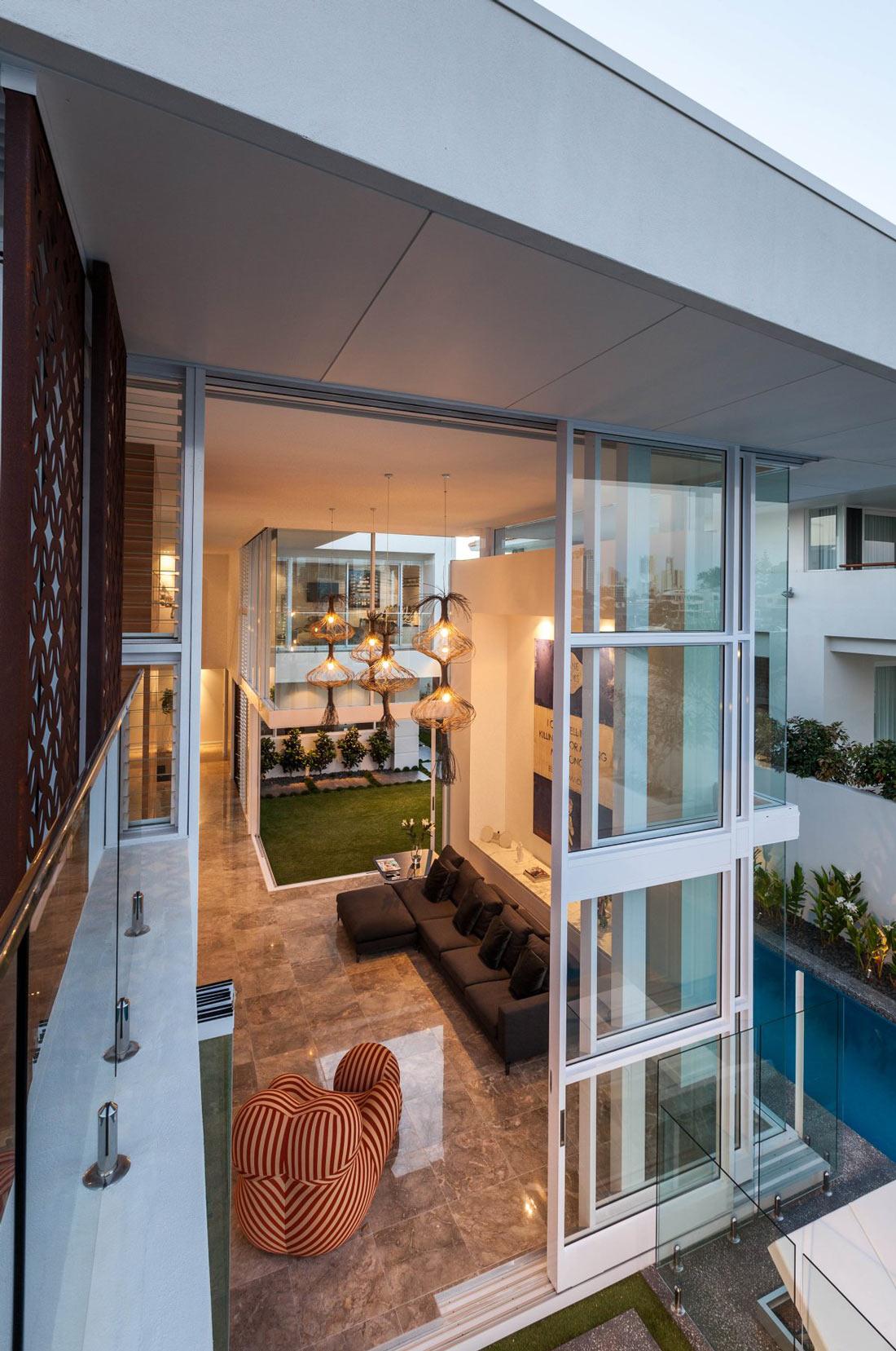 Living Room, Marble Floor, Stunning Waterfront Home in Queensland, Australia