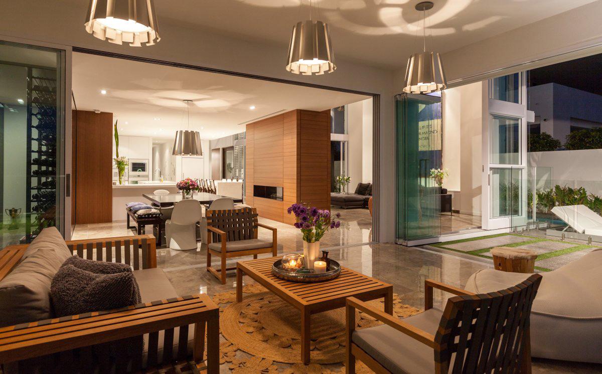 Open Plan Living, Lighting, Stunning Waterfront Home in Queensland, Australia