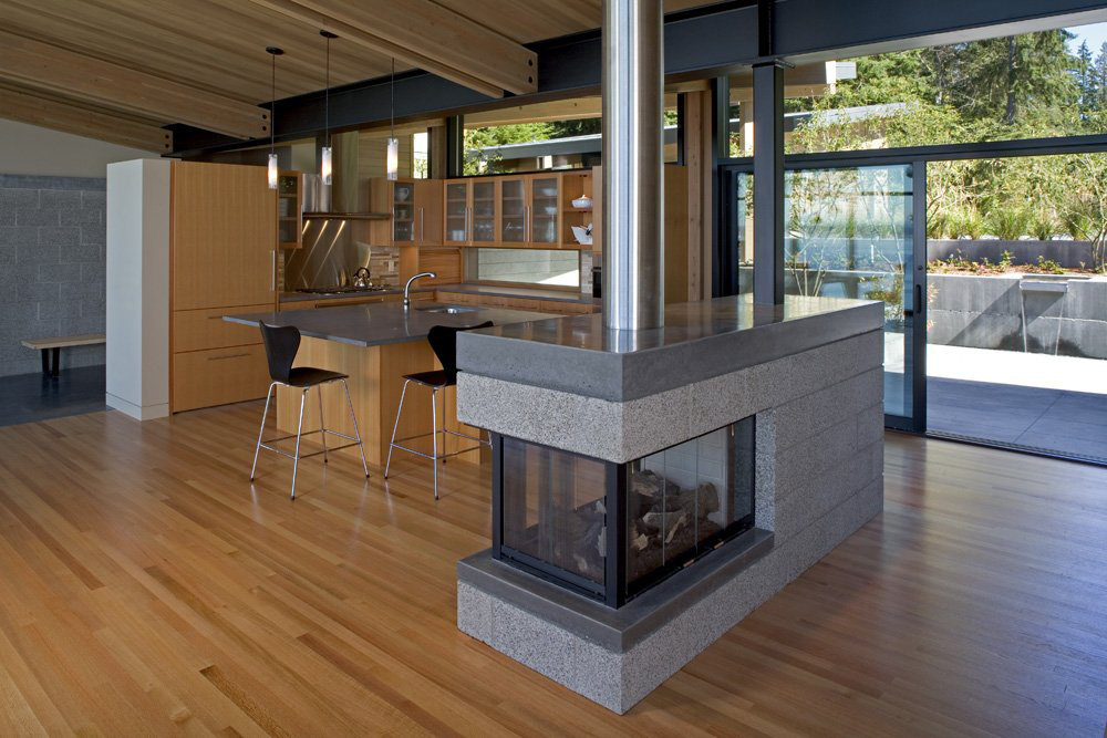 Contemporary Fireplace, Whidbey Island Cabin with Exceptional Views