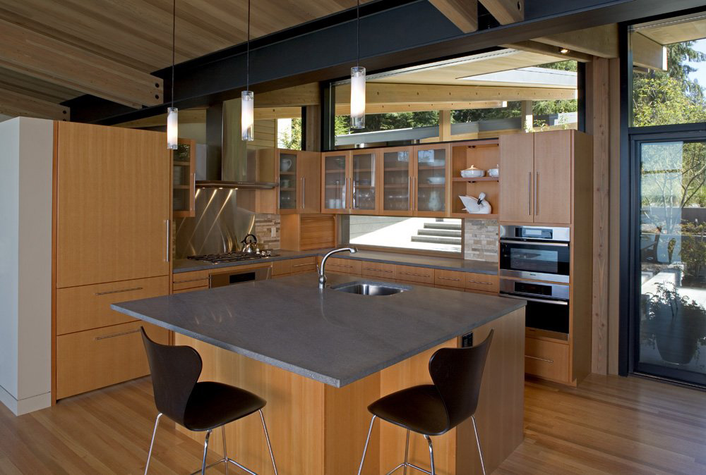 Kitchen Island, Breakfast Table, Whidbey Island Cabin with Exceptional Views
