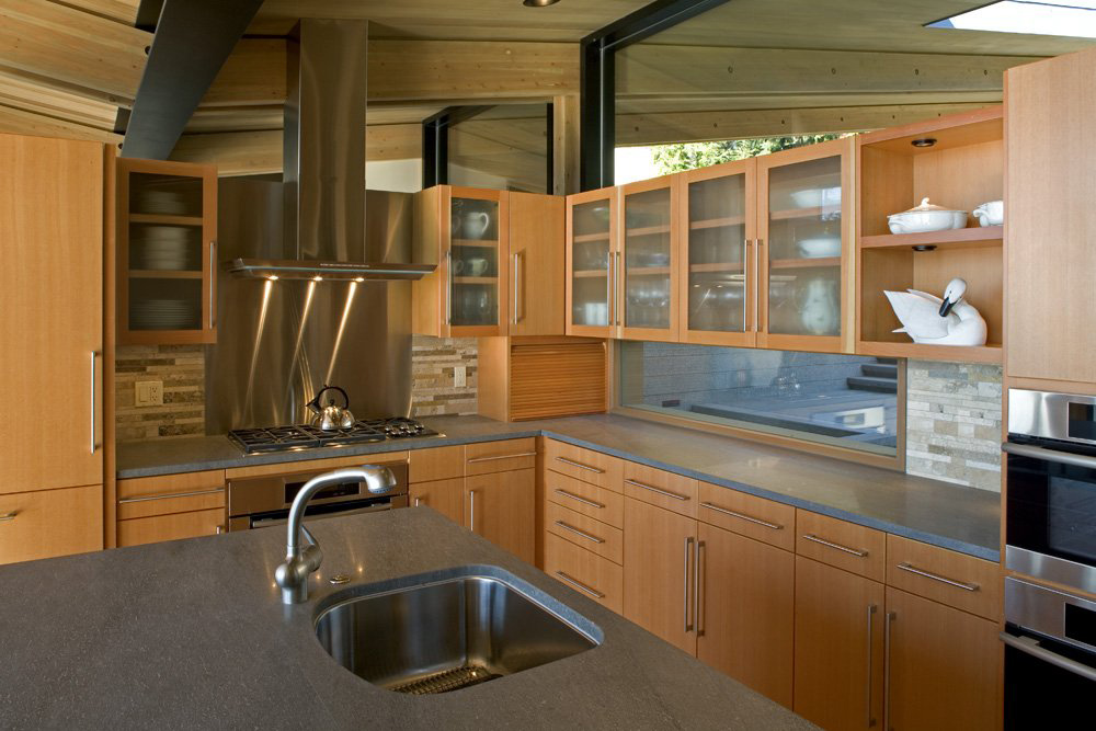 Kitchen Island, Sink, Whidbey Island Cabin with Exceptional Views