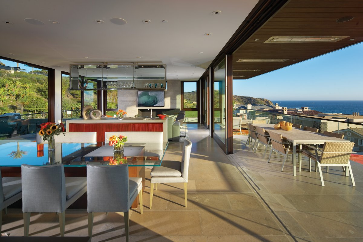 Dining, Kitchen, Living Space, Balcony, Contemporary Beach House in Dana Point, California