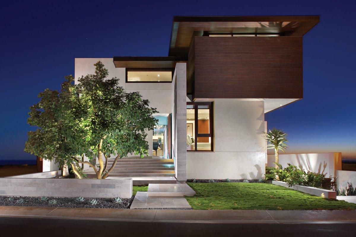 Entrance, Front Facade, Contemporary Beach House in Dana Point, California