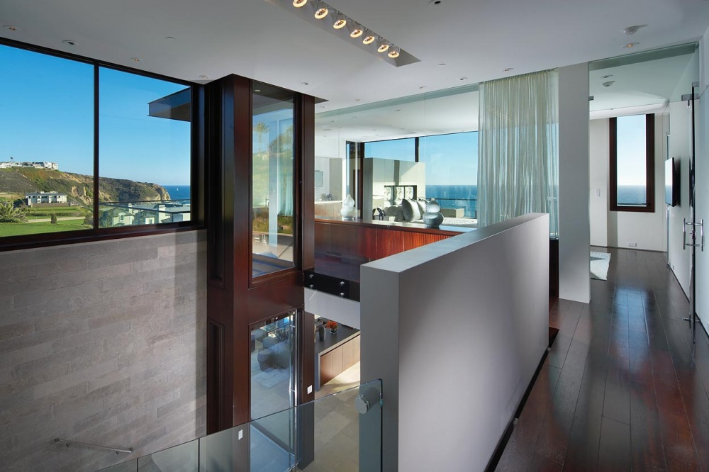 Hallway, Bedroom, Glass Wall, Contemporary Beach House in Dana Point, California