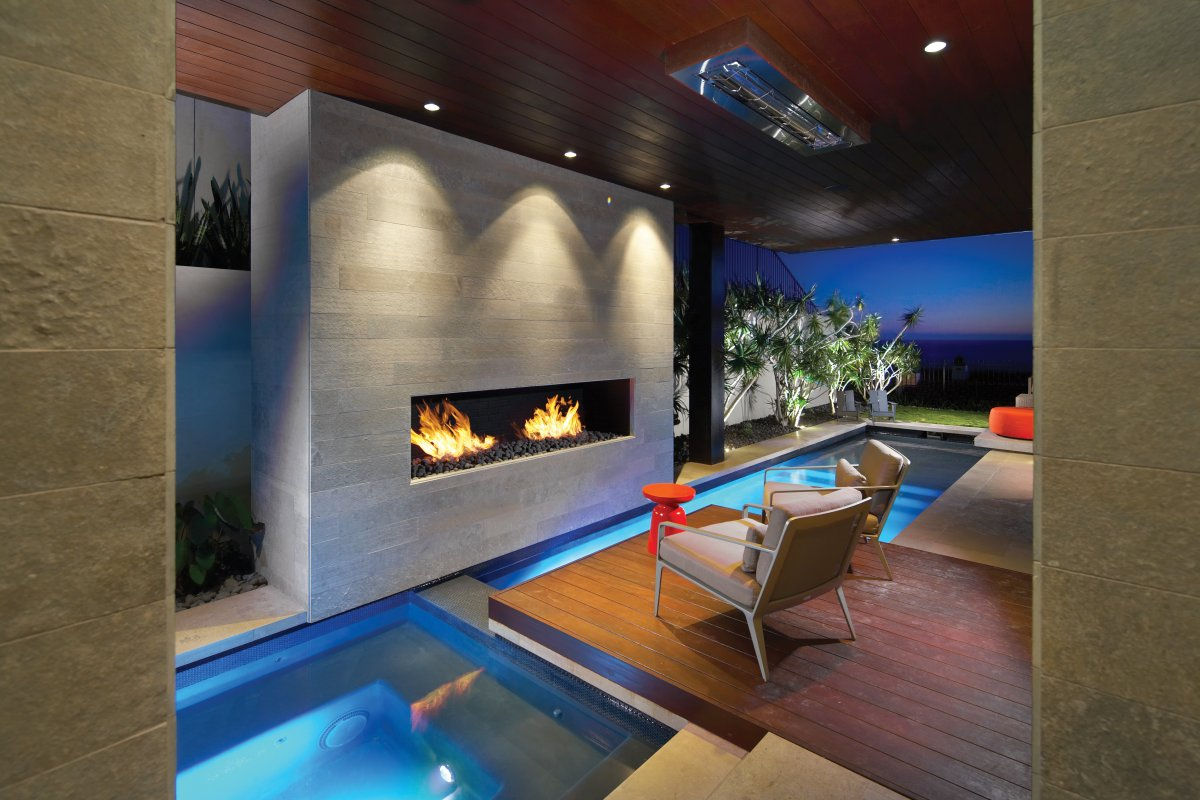 Modern Fireplace, Pool, Contemporary Beach House in Dana Point, California