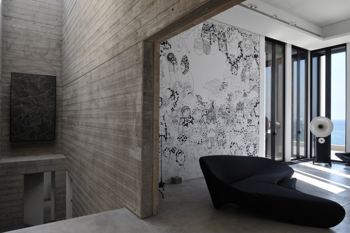 Wall Design Lebanon : Concrete walls striking oceanfront house in jbeil lebanon