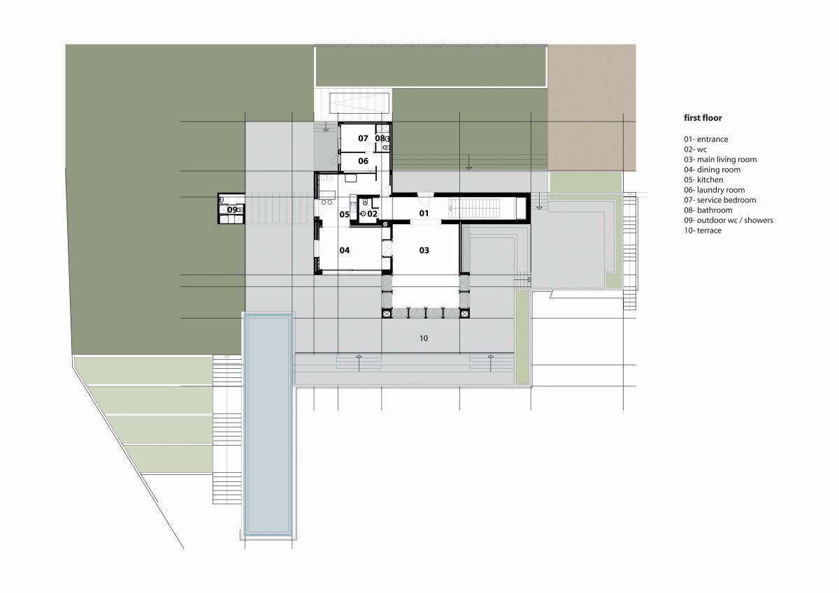 First Floor Plan, Striking Oceanfront House in Jbeil, Lebanon