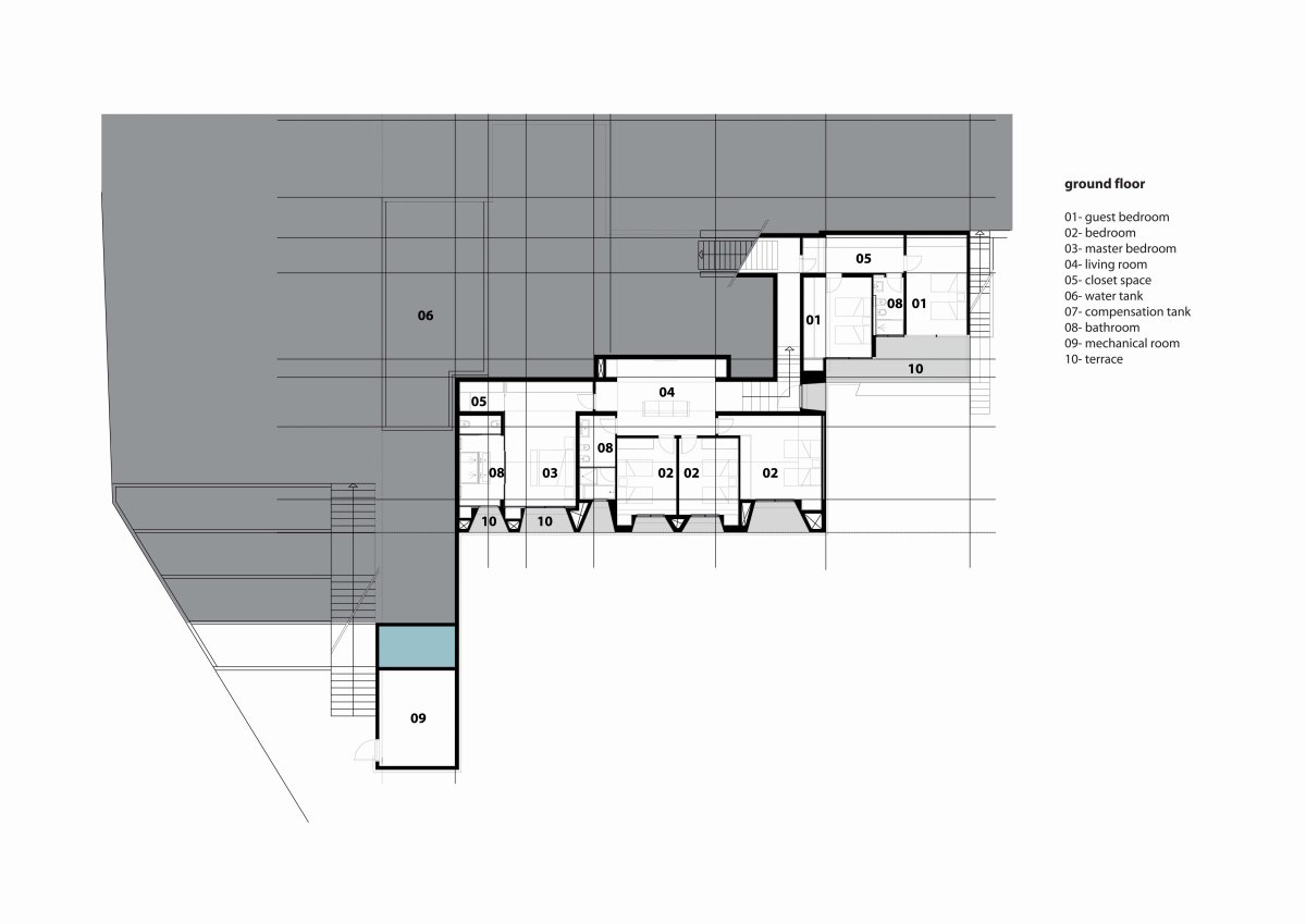 Ground Floor Plan, Striking Oceanfront House in Jbeil, Lebanon