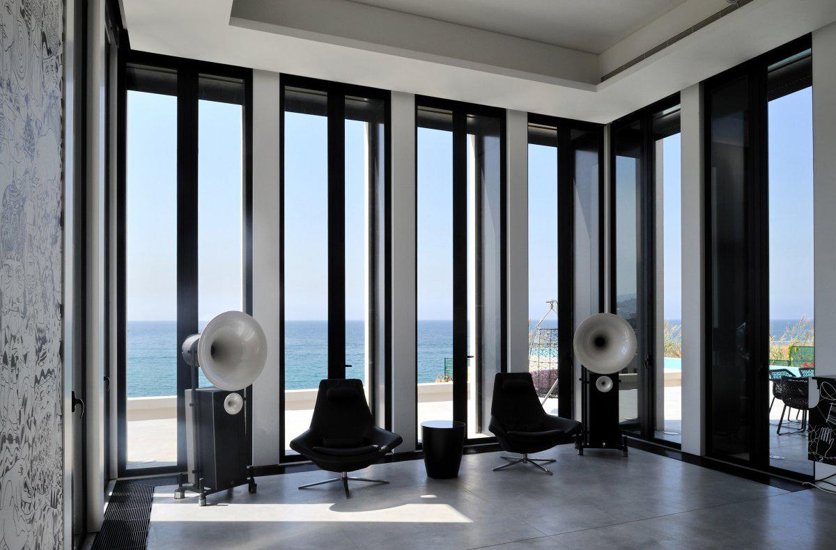 Glass Walls, Living Space, Striking Oceanfront House in Jbeil, Lebanon