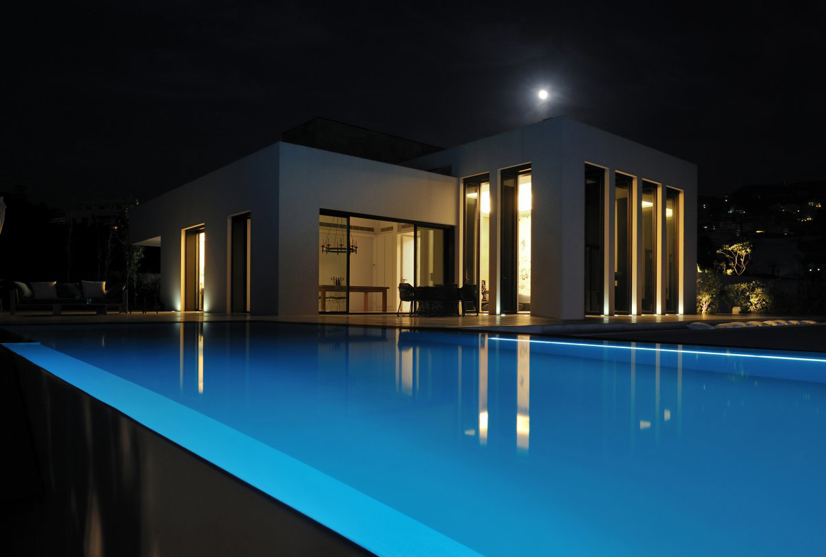 Evening, Pool Lighing, Striking Oceanfront House in Jbeil, Lebanon