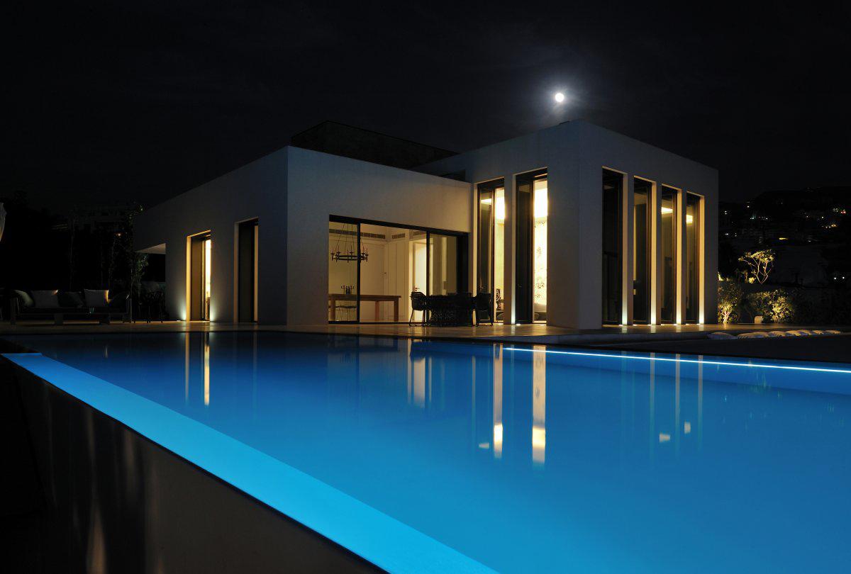 Evening, Pool Lighing, Striking Oceanfront House in Jbeil, Lebanon