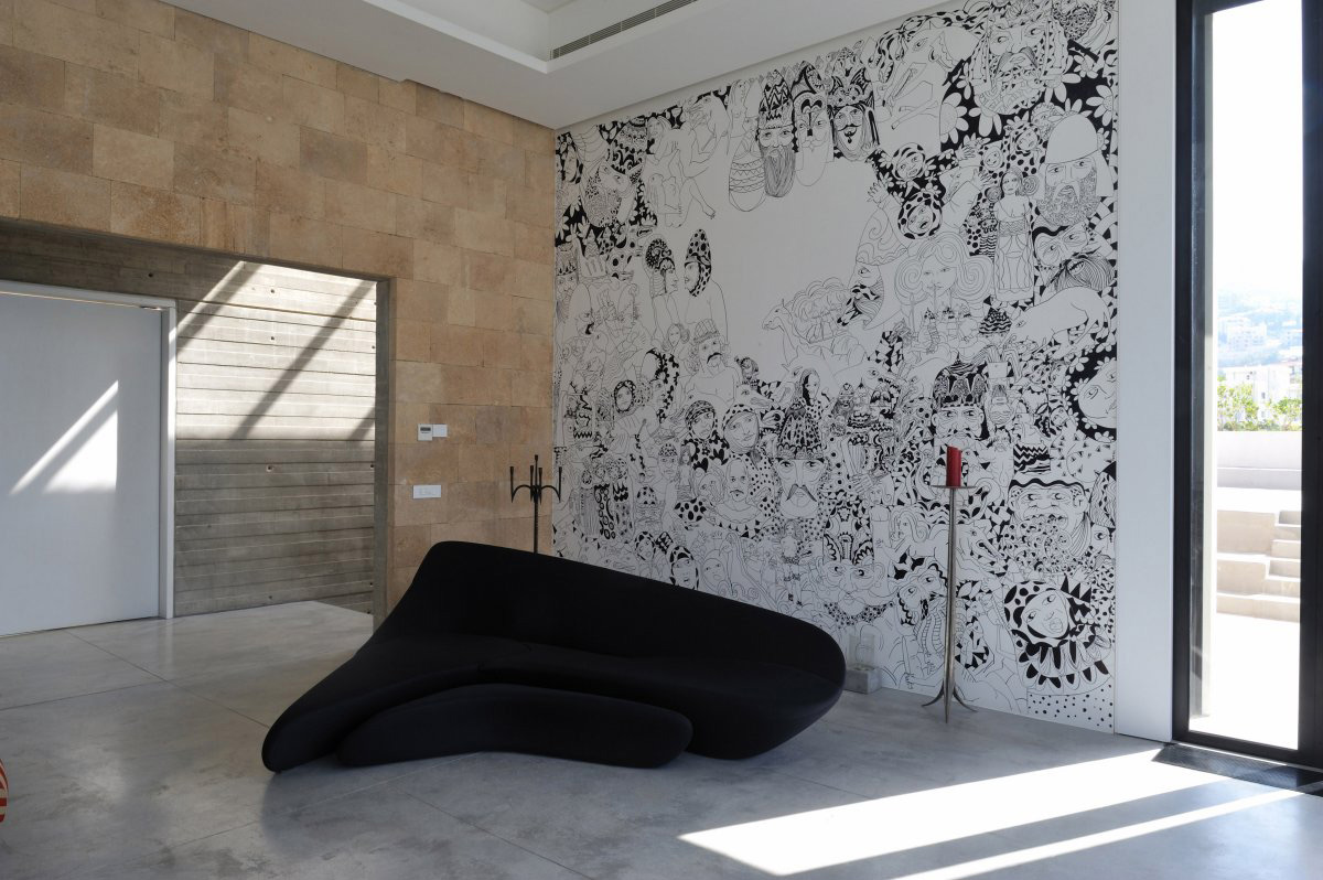 Wall Art, Dark Sofa, Striking Oceanfront House in Jbeil, Lebanon
