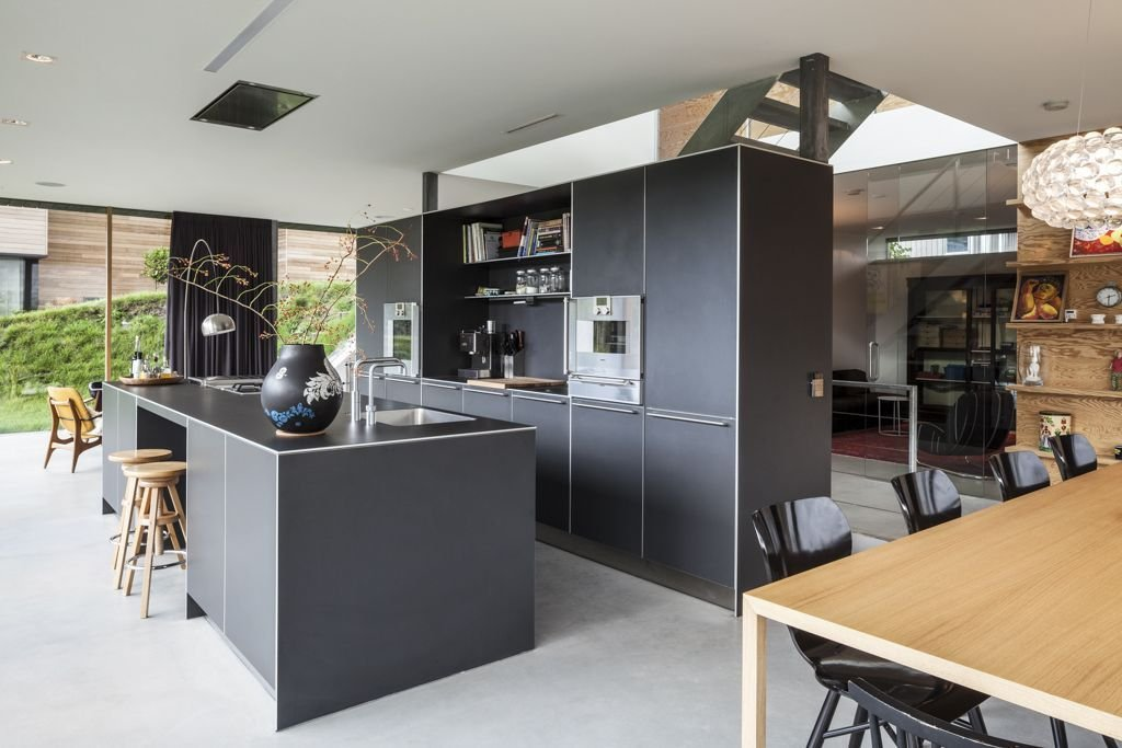 Grey Kitchen Island, Breakfast Bar, Energy Efficient Home in Bloemendaal, The Netherlands