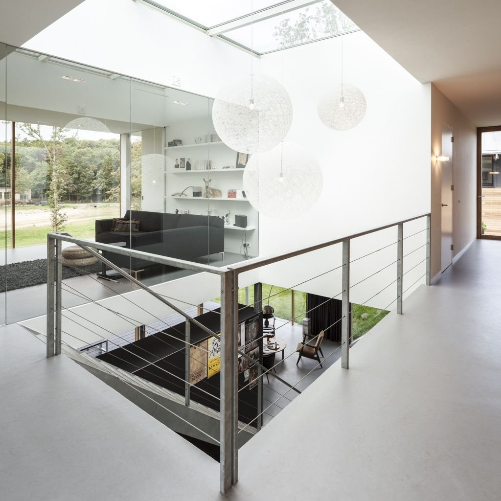 Landing Lighting, Stairs, Glass Wall, Energy Efficient Home in Bloemendaal, The Netherlands