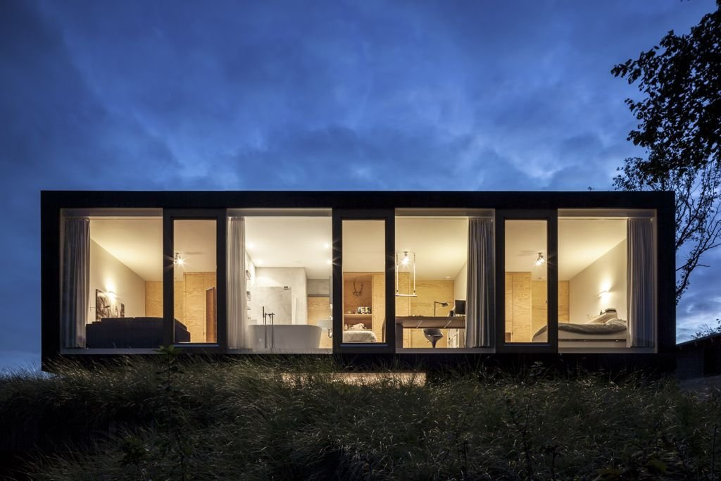 Bedrooms, Evening Lighting, Energy Efficient Home in Bloemendaal, The Netherlands