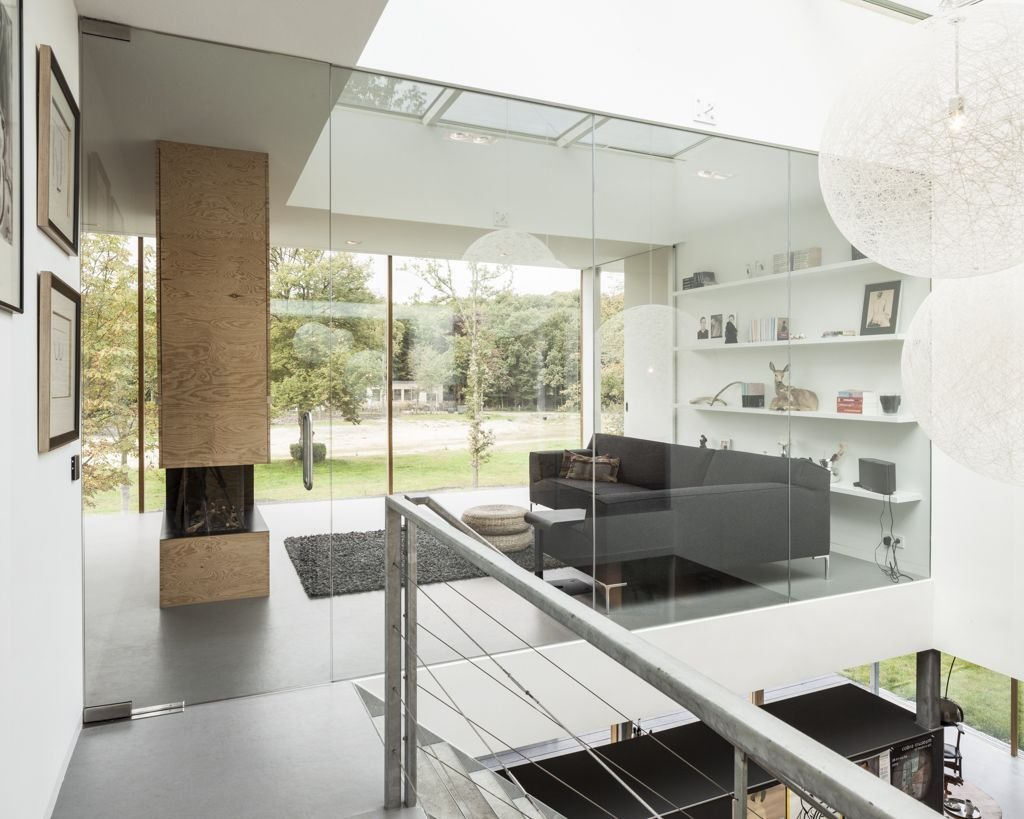 Living Room, Glass Wall, Energy Efficient Home in Bloemendaal, The Netherlands