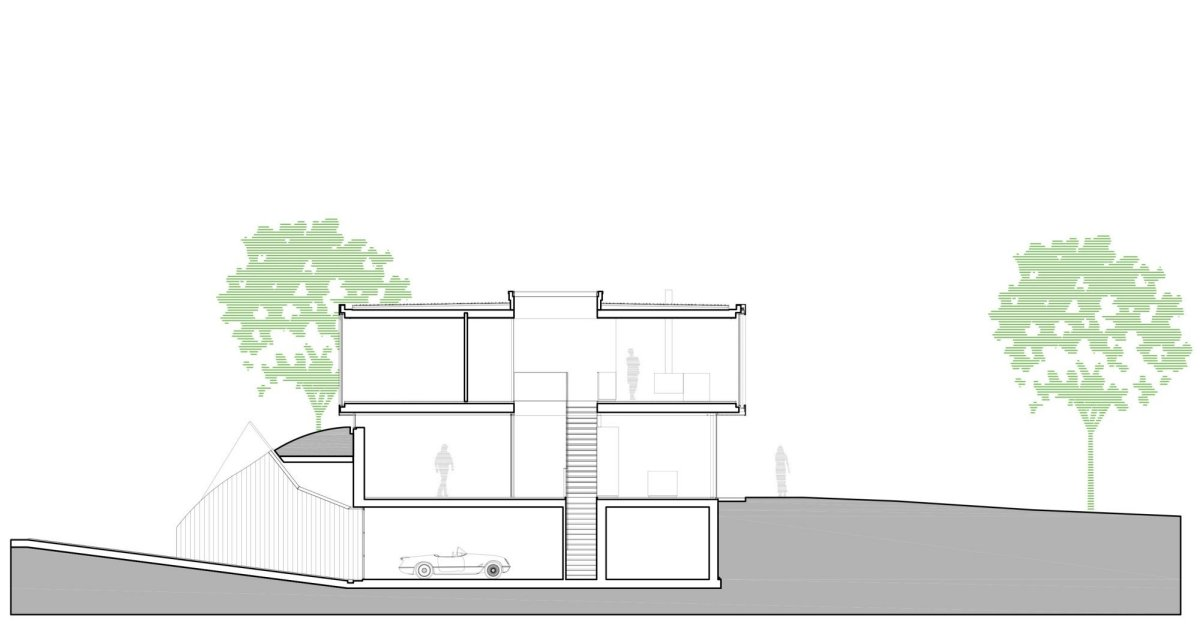 Section, Energy Efficient Home in Bloemendaal, The Netherlands