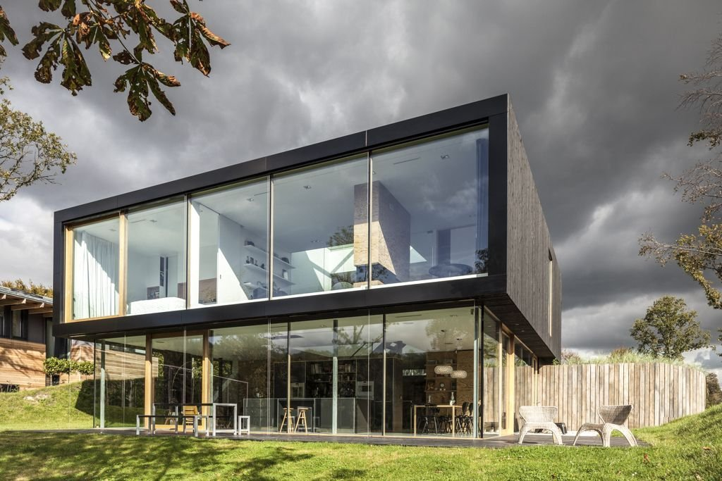 Terrace, Glass Walls, Energy Efficient Home in Bloemendaal, The Netherlands