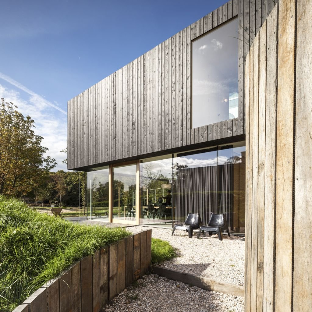 Wood Cladding, Glass Walls, Energy Efficient Home in Bloemendaal, The Netherlands