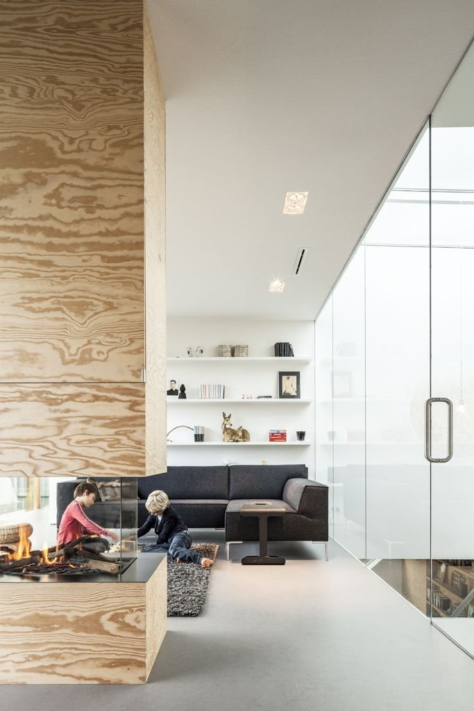 Wood, Glass Fireplace, Energy Efficient Home in Bloemendaal, The Netherlands