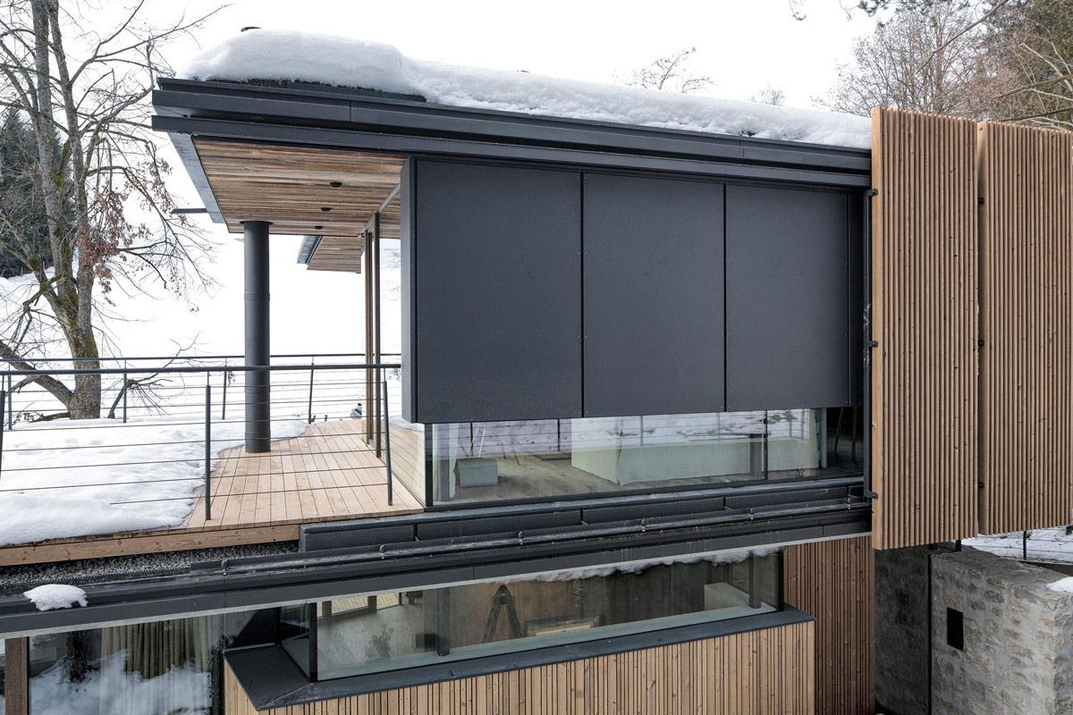 Balcony, Wood Decking, Modern Home in the Mountains, Kitzbühel, Austria