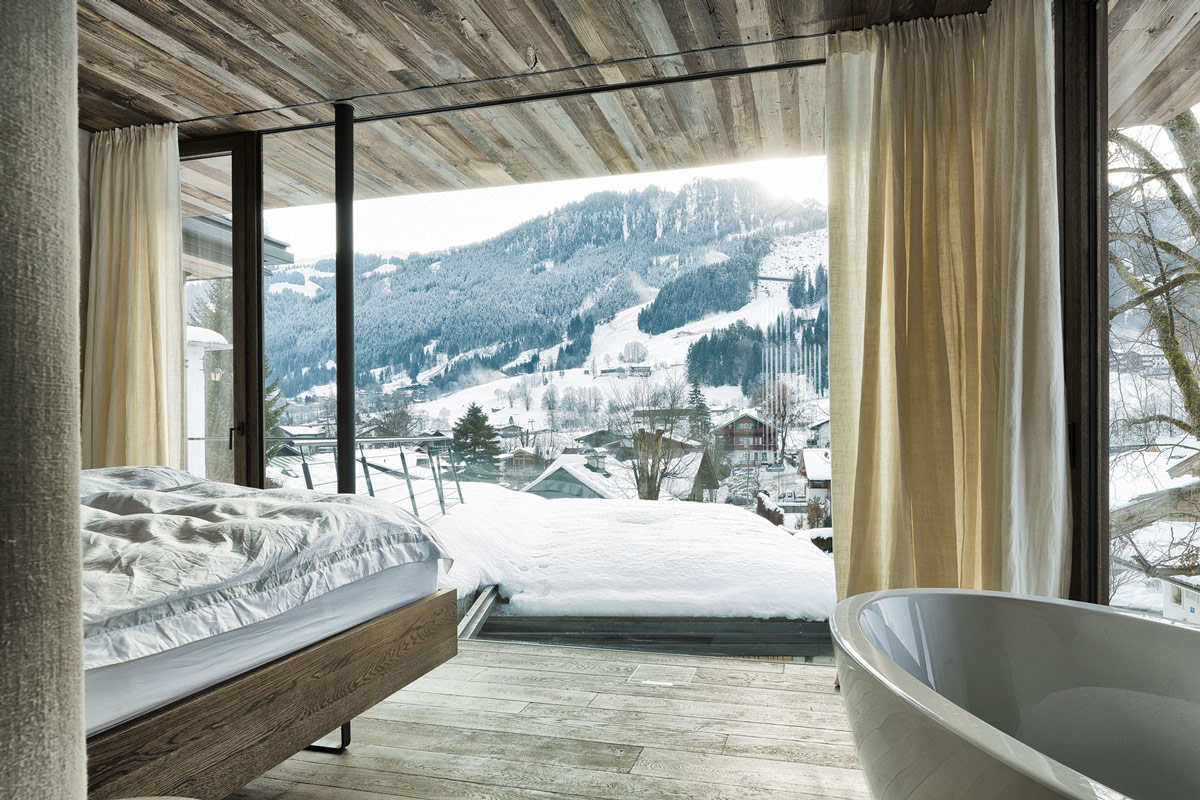 Bedroom, Bath, Ski Slope Views, Modern Home in the Mountains, Kitzbühel, Austria