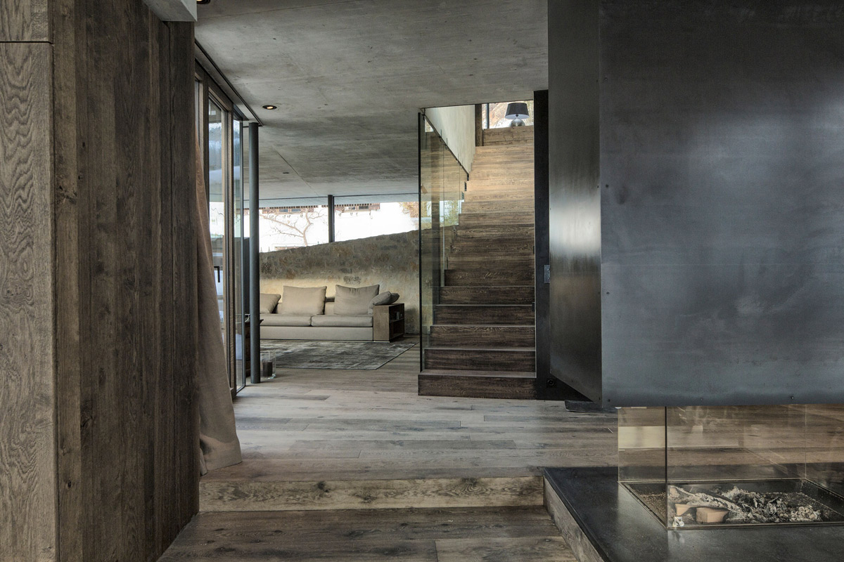 Contemporary Fireplace, Stairs, Modern Home in the Mountains, Kitzbühel, Austria