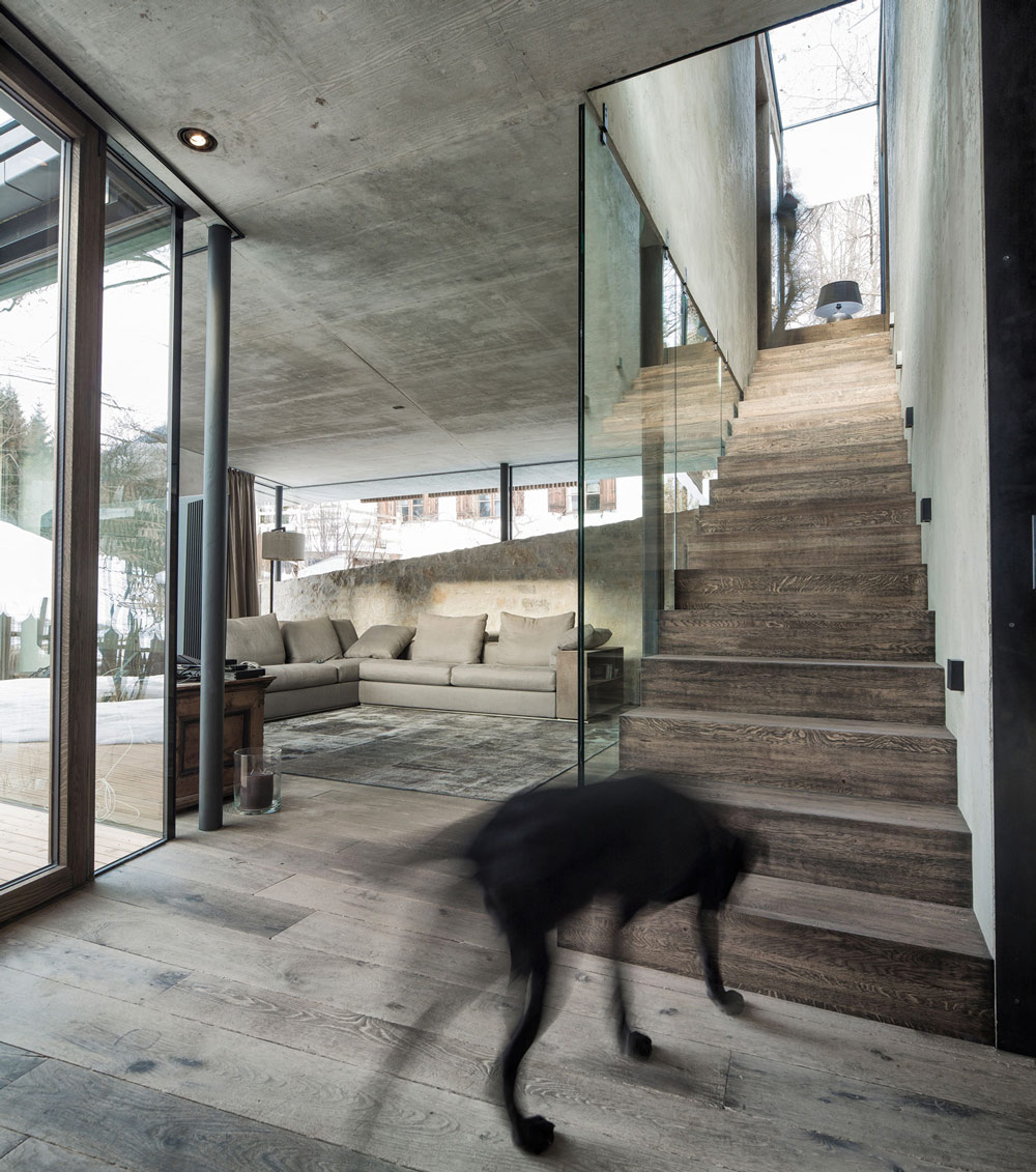 Glass & Wood Stairs, Modern Home in the Mountains, Kitzbühel, Austria