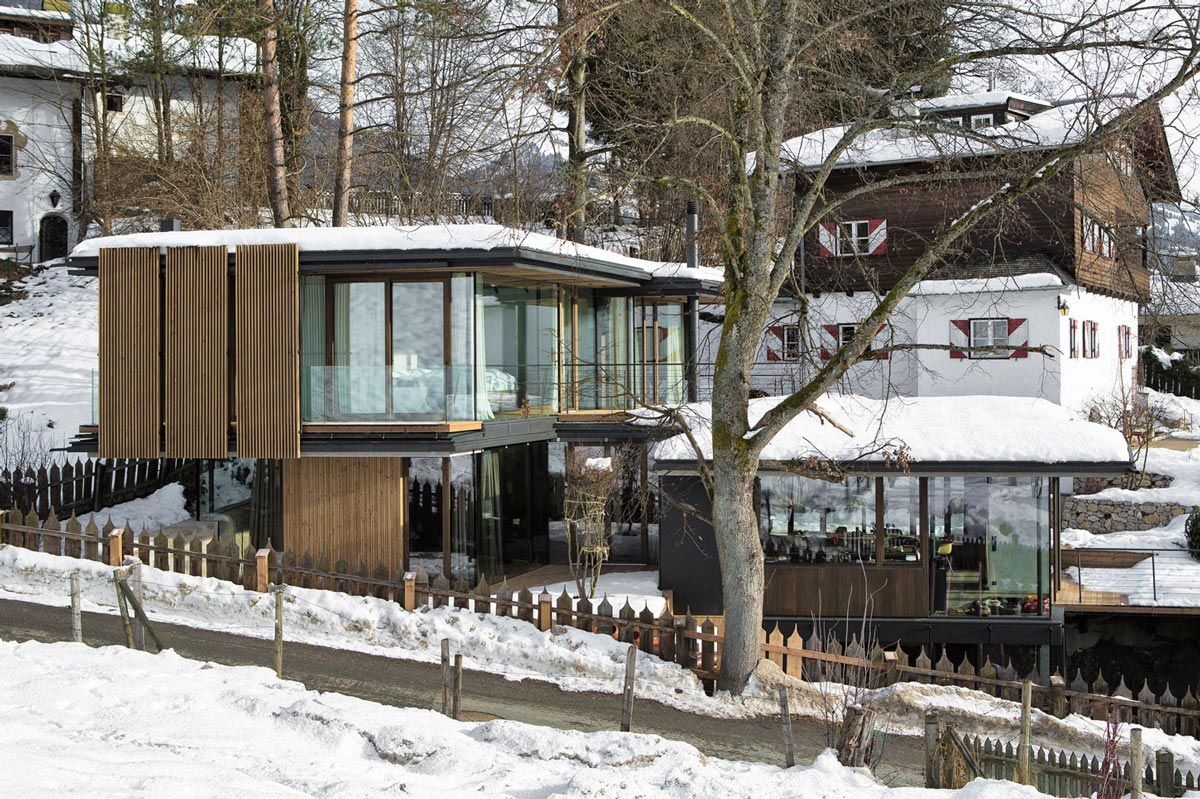 Glass & Wood Balcony, Modern Home in the Mountains, Kitzbühel, Austria