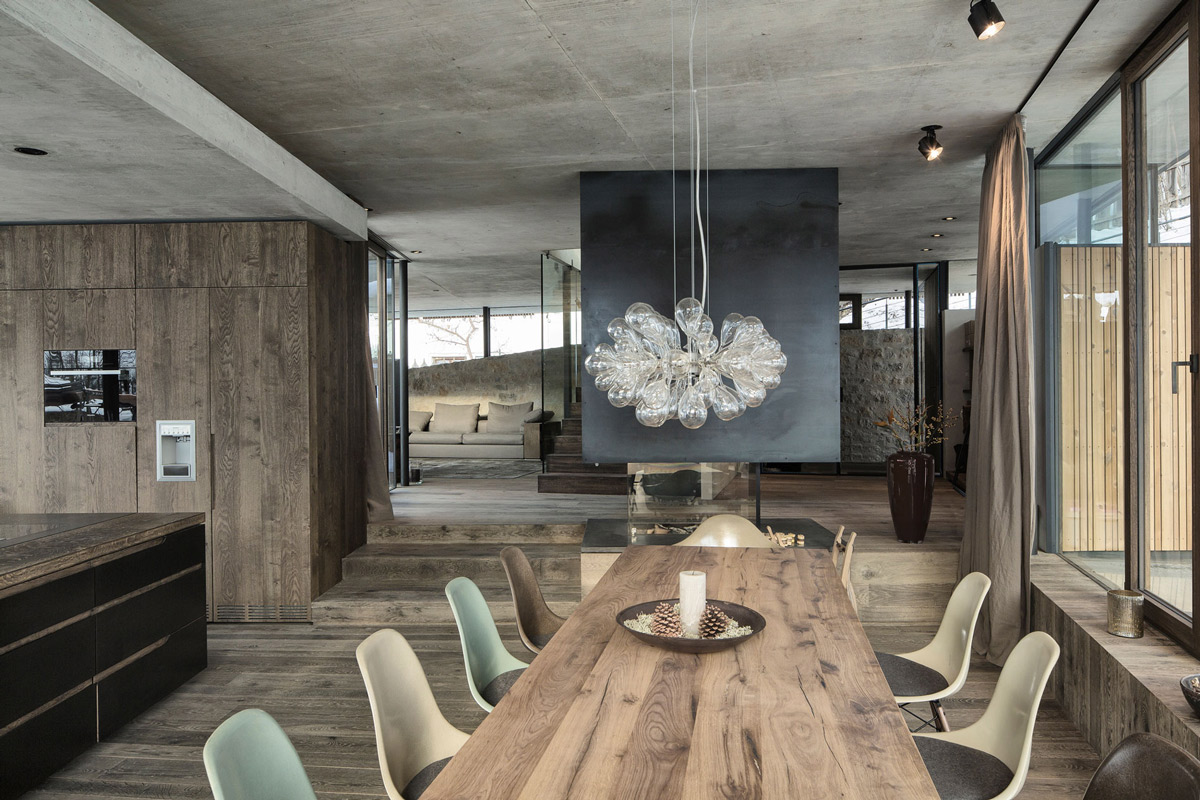 Lighting, Wooden Dining Table, Modern Home in the Mountains, Kitzbühel, Austria
