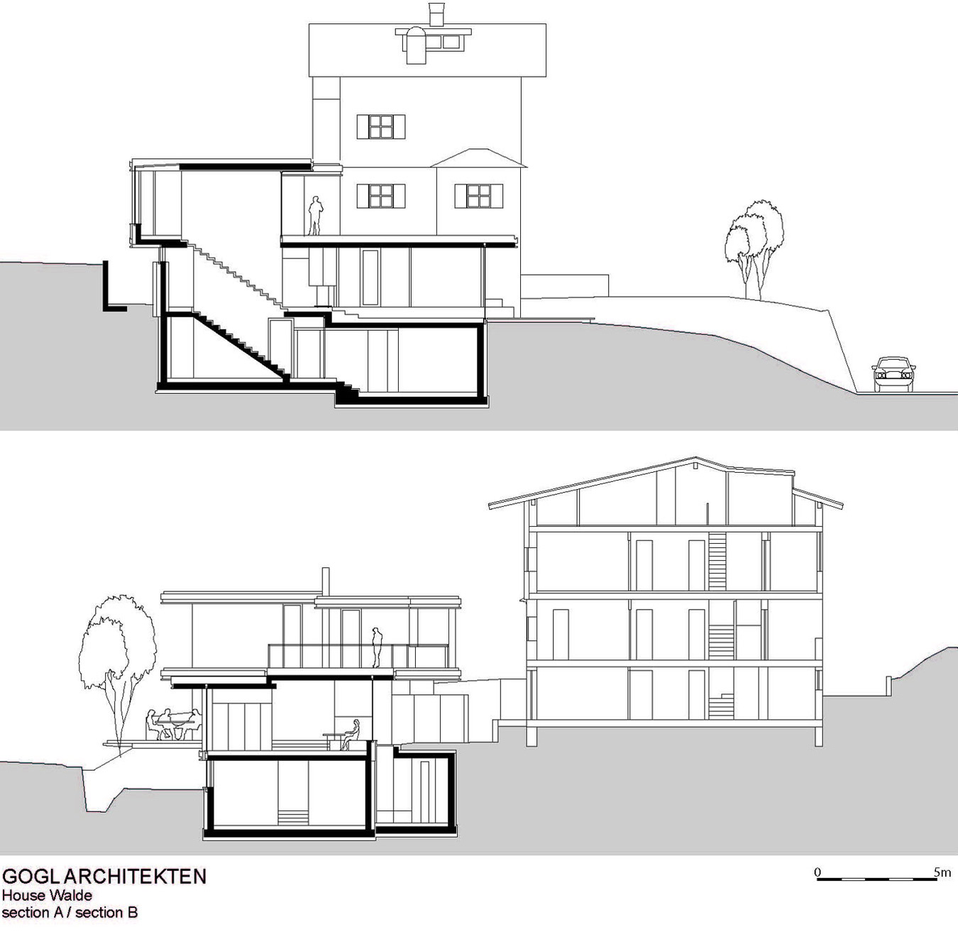 Section A-B, Modern Home in the Mountains, Kitzbühel, Austria